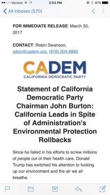 california democrats drop f-bomb on trump's environmental mess