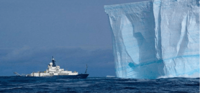A NOAA crew on the R/V Roger Revelle came nose-to-nose with an iceberg floating in the the Southern Ocean near Antarctica in 2008.