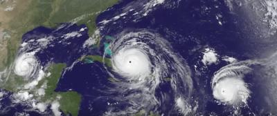 hurricanes irma jose katia via NOAA GOES
