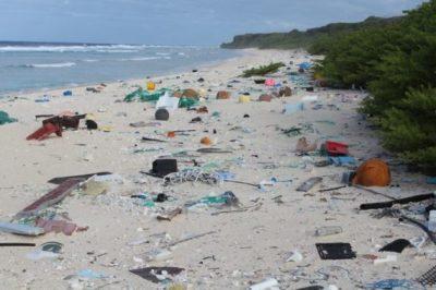 plastic trash on pacific island