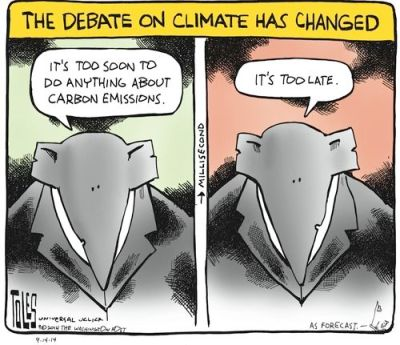 Tom Toles the climate change debate has changed