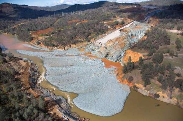 Photo of collapsed Oroville Dam spillway courtesy of Department of Water Resources (DWR).