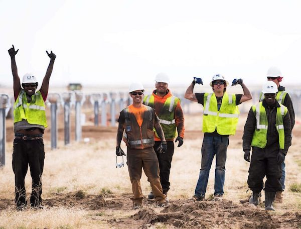Solar jobs at Swinerton Renewable Energy - different yellow vests