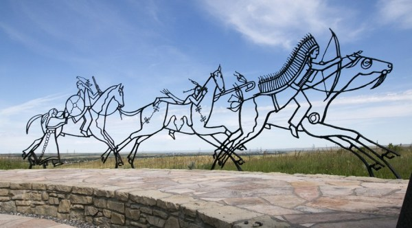 Oglala artist Colleen Cutschall (alias Sister Wolf) designed this dramatic sculpture for the Indian Memorial at the Little Bighorn Battlefield National Park in Montana. The Indian side of the story is told in Custer's Fall. See below.