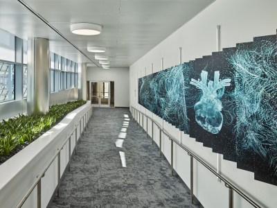 A light-filled corridor in the Unisphere. Source: United Therapeutics