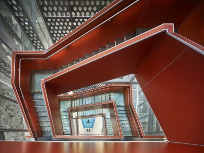 The stylish staircase of the Unisphere is meant to entice people to walk instead of taking the elevator. Source: United Therapeutics