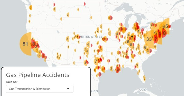 Pipeline accidents from Climate Nexus. Click on the image for an interactive.
