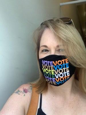 Chelsea Henderson in a VOTE mask coronavirus