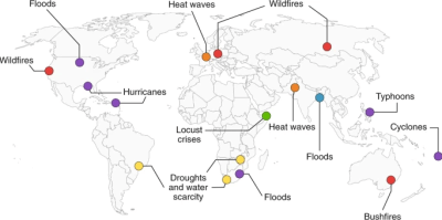 """This map from May showed likely upcoming climate hazards during the Covid-19 pandemic. Source: """"Compound climate risks in the Covid-19 pandemic,"""" Nat. Clim. Chang. 10, 586-588 (2020)"""