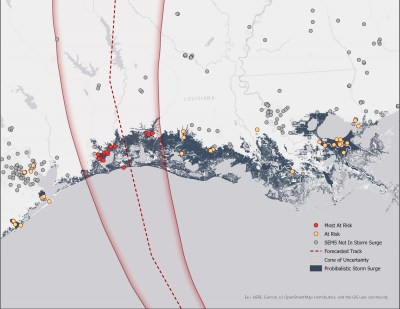 This map shows hazardous facilities listed in the Environmental Protection Agency's Superfund Enterprise Management System (SEMS) that could be at-risk of being compromised by the effects of Hurricane Laura. Source: Blog of the Union of Concerned Scientists