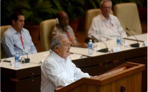 Salvador Sánchez Cerén, presidente de la República de El Salvador, en la plenaria especial sobre el pensamiento de Fidel, durante el XXIV Encuentro del Foro de Sao Paulo