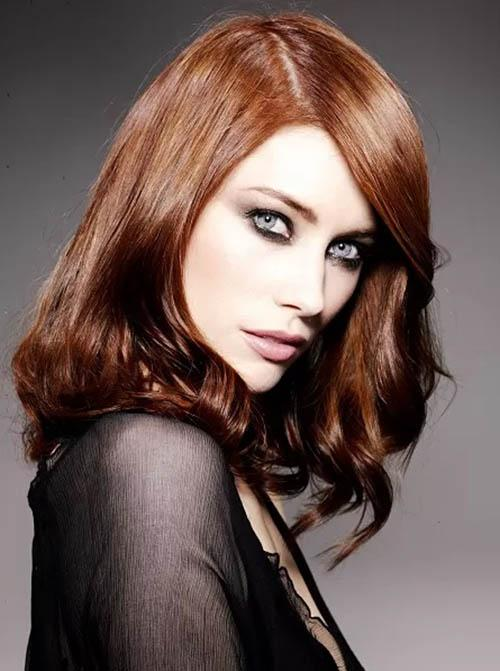 Medium Hairstyle with red copper hair color