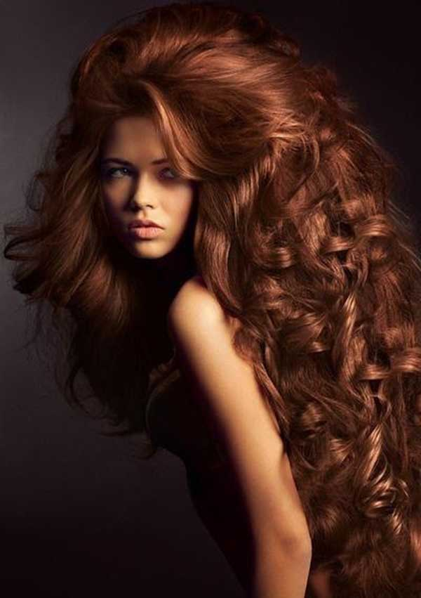 Big long curly chestnut hairstyle