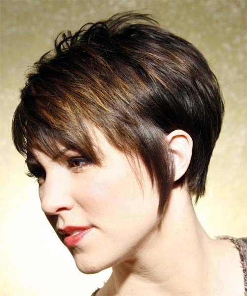 deep brown short haircut with golden highlights