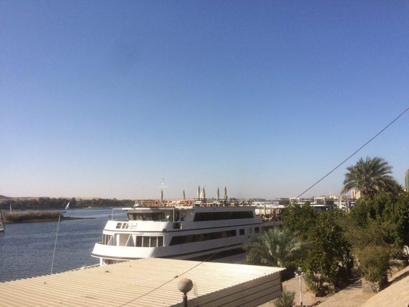 view from nile corniche in aswan, egypt
