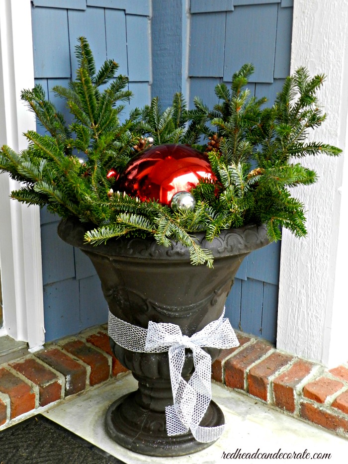 Gazing Ball Christmas Urn