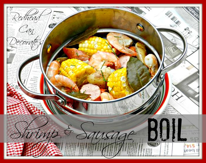 Shrimp Boil Recipe redheadcandecorate.com