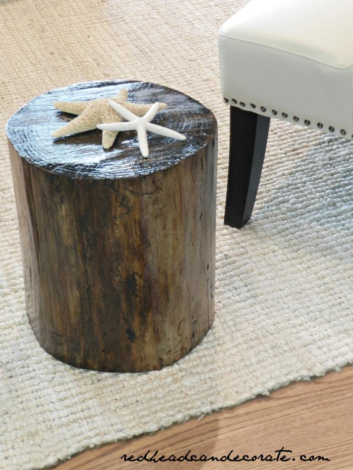 DIY Stump Turned End Table