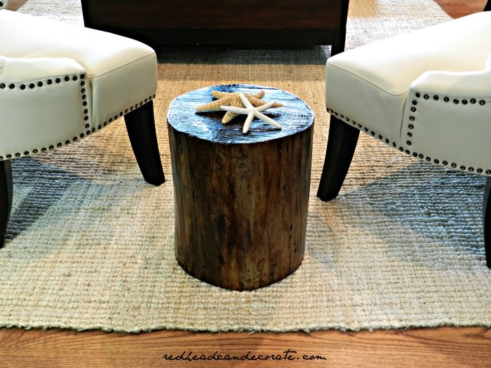 DIY Stump Table Redhead Can Decorate