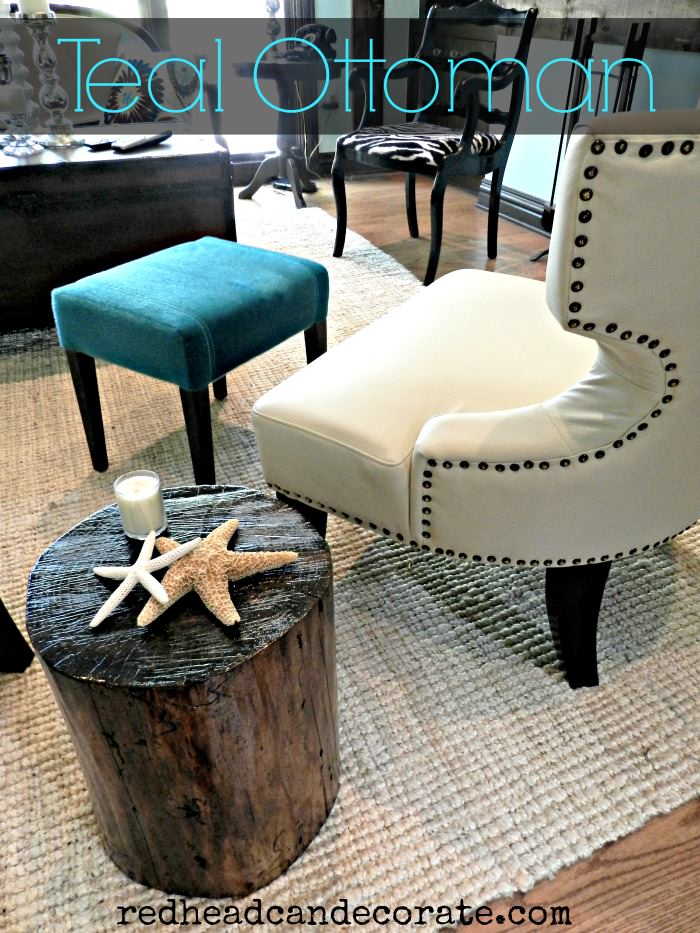 Teal Ottoman | Redhead Can Decorate.com