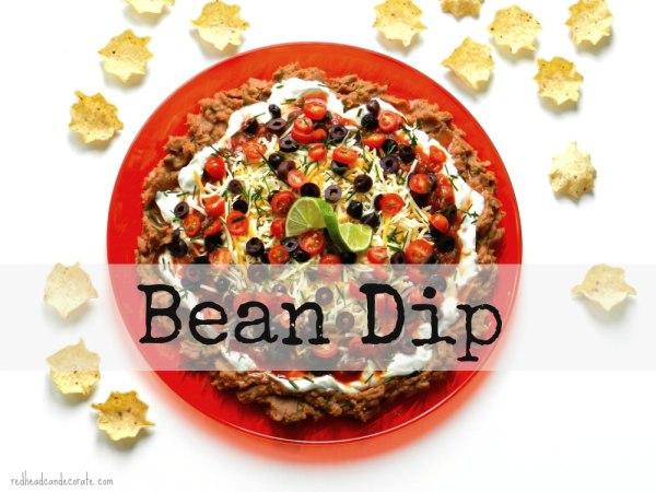 Taco Bean Dip by redheadcandecorate.com