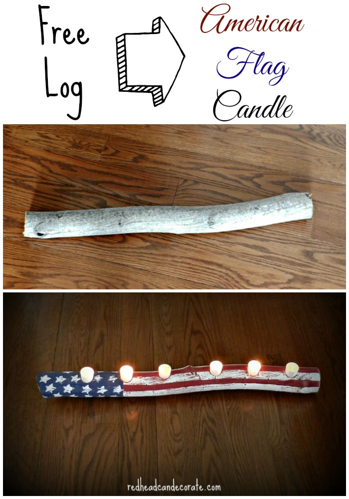 Free Log to American Flag Candle
