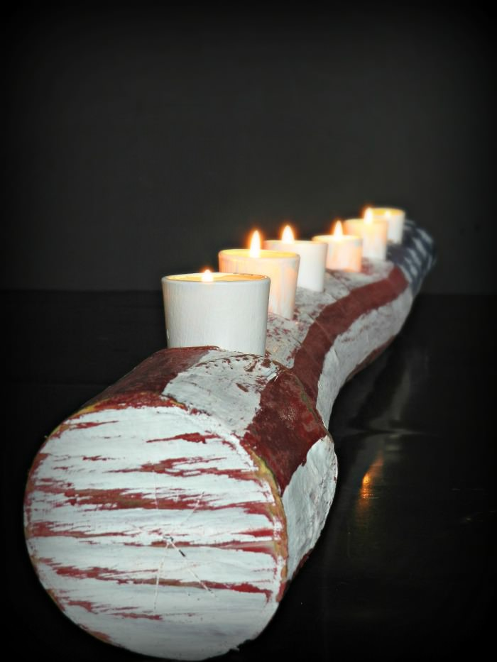Red, White, and Blue Candle Log