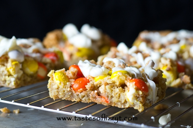 White Chocolate M&M Cookies Bars {Tastes of Lizzy T}