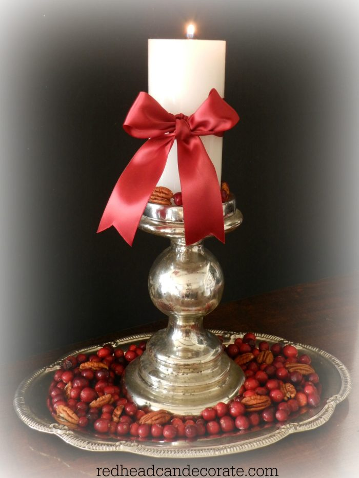 Easy Cranberry Pecan Candle Centerpiece