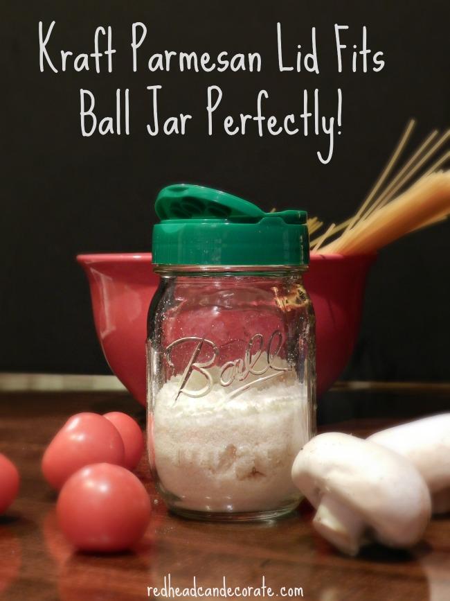 Kraft Parmesan Lid Fits Ball Jars Perfectly!  Who knew?