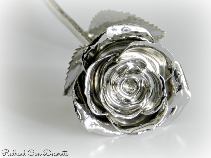 Platinum Dipped Real Rose-Redhead Can Decorate