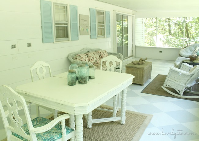 blue and white painted  screened porch 2