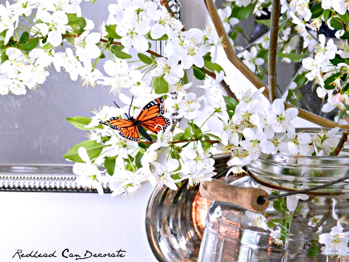 Cherry Blossom & Butterfly Floral Arrangement