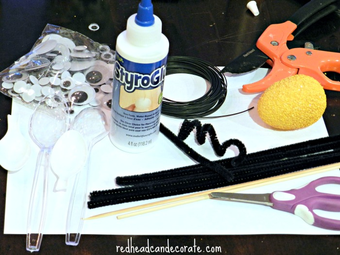 Supplies needed to make foam bees.
