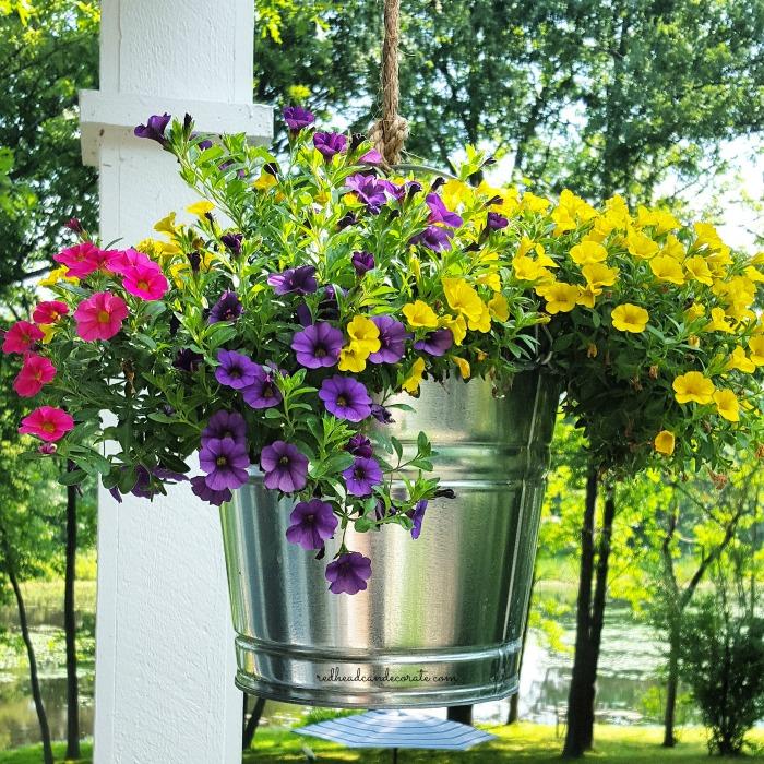Pretty Hanging Bucket Idea ($5)