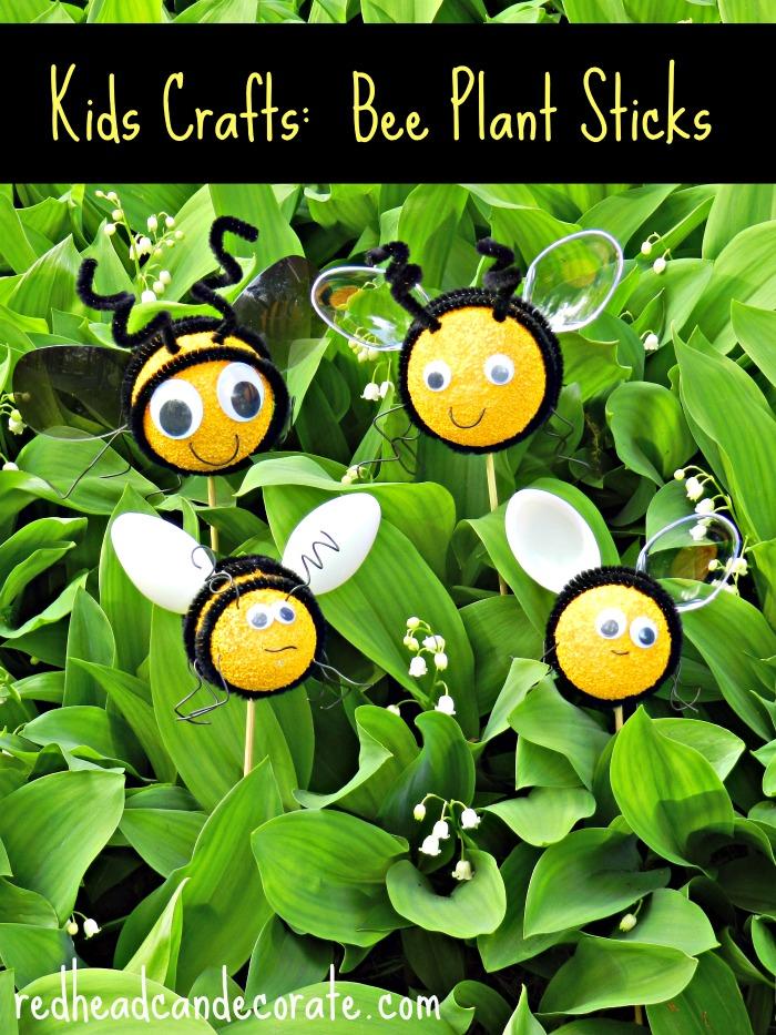 Easy Kids Craft Bee Plant Sticks