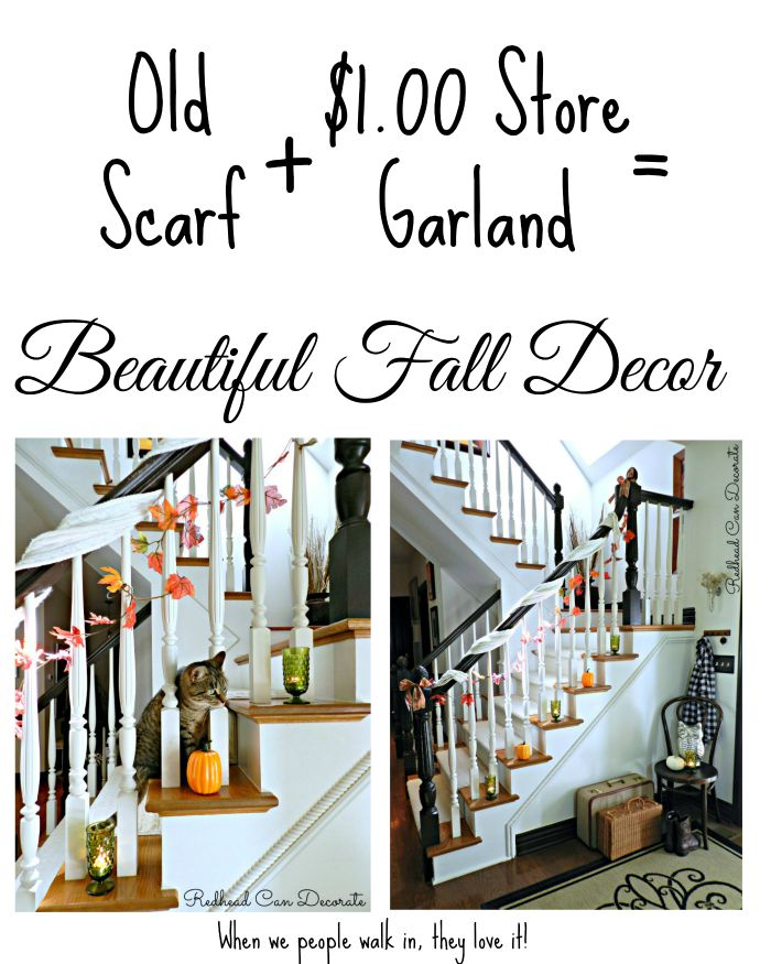 Old Scarf + $1.00 Store Garland = Beautiful Fall Decor