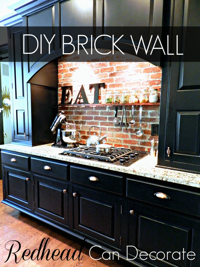 brick backsplash in kitchen cabinet painters diy redhead can decorate wall tutorial