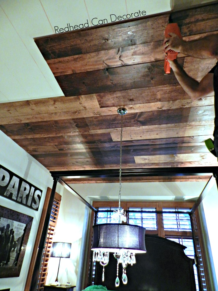 Redhead Can Decorate Wood Planked Ceiling