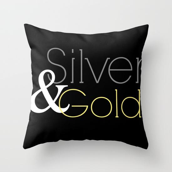 silver & gold pillow