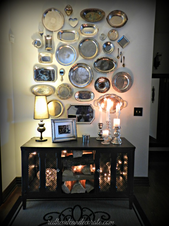 Thrift Store Silver Platter Wall by Redhead Can Decorate