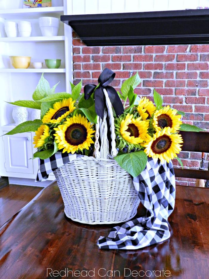 Vintage Picnic Basket Sunflower Centerpiece