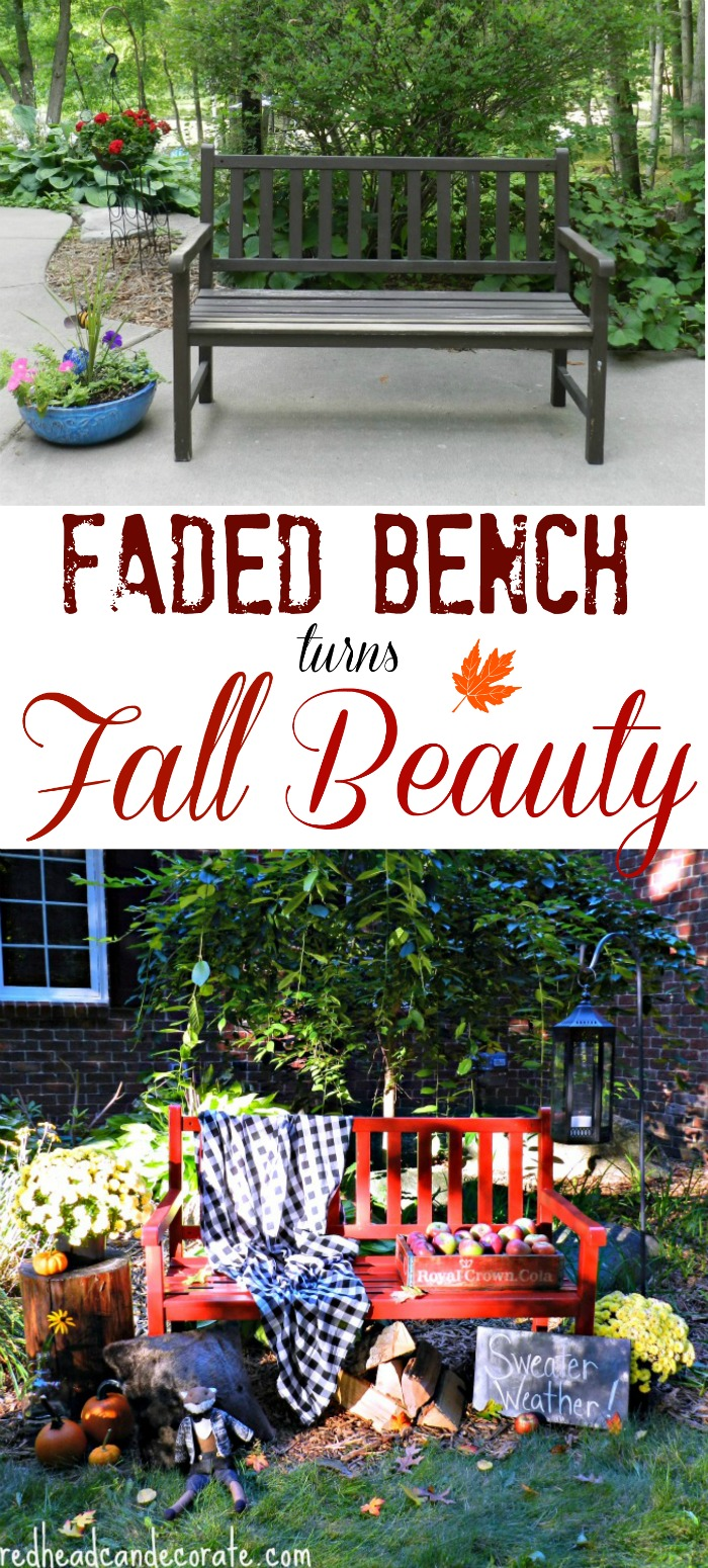 Fall Red Painted Bench