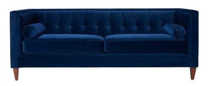 This blue velvet sofa is gorgeous! There are more colors, too!