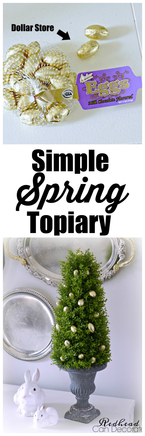 This is such a cute idea! Dollar store Spring topiary can be used for Easter and all year!