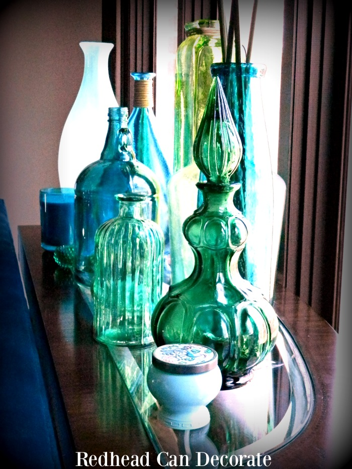 Beautiful Blue & Green Bottle Decorating
