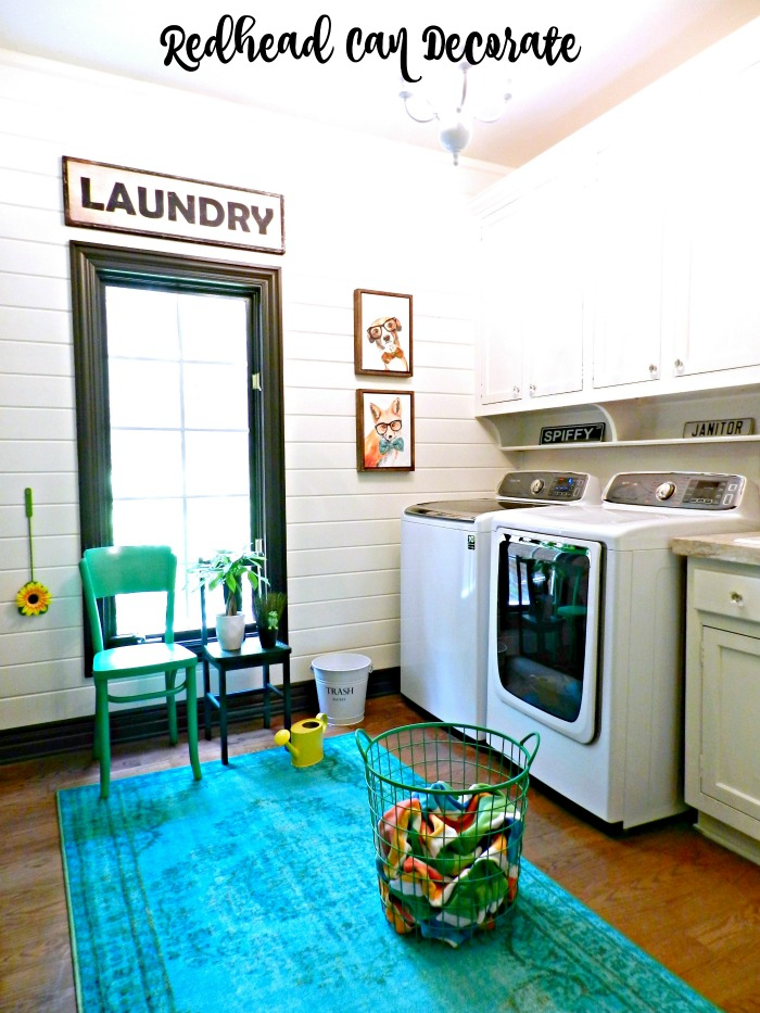 This DIY Laundry Room Makeover is filled with cute ideas for an affordable transformation from dated to light bright and beautiful!