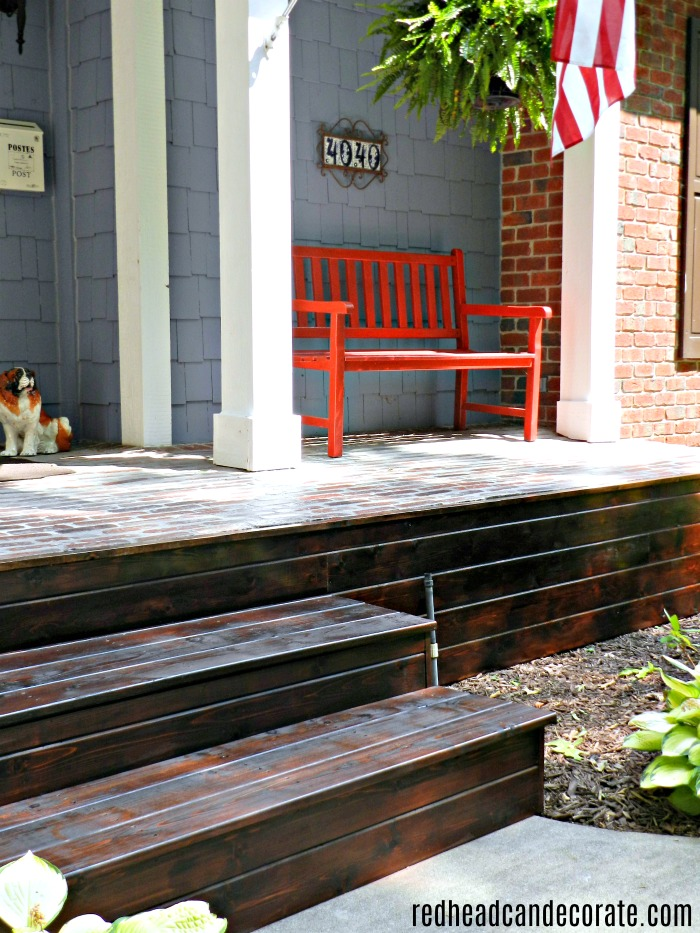 Budget Friendly Mahogany Wood Front Porch Makeover
