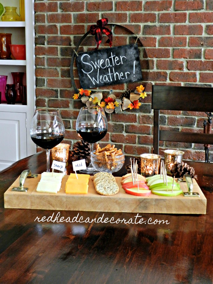 "Very cute DIY ""Cheese & Apple Butcher Block Tray"" made with rustic handles in a few minutes! You could do this with any cutting board."