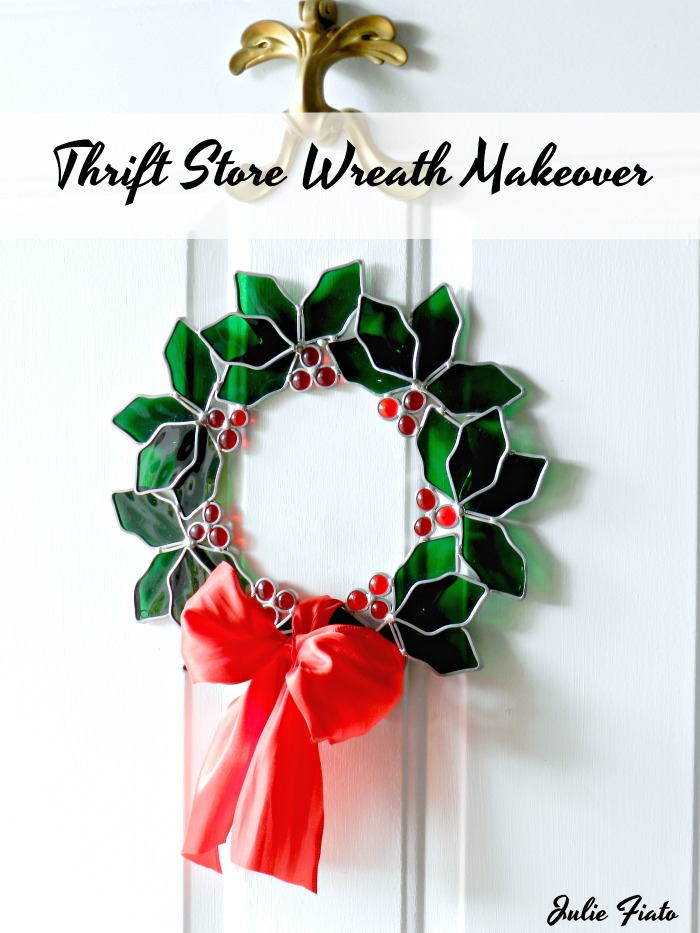 """Dated sun catcher gets a beautiful makeover with just a few tweaks. This """"Thrift Store Stained Glass Wreath Makeover"""" is a must see!"""